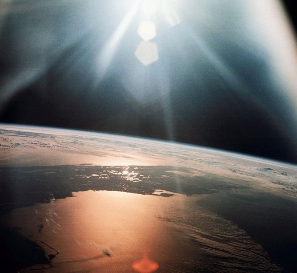 Sunlight reflected off the Earth